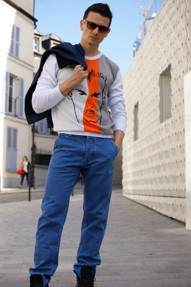 jeans bleu de paname pull pic de nore mode homme made in france
