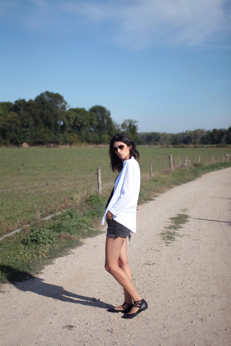 combo blazer short en jean blogueuse mode